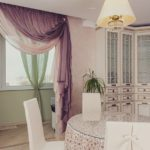 Лиловые шторы для кухни