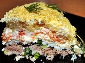 Салат «Мимоза» с сардиной и сыром