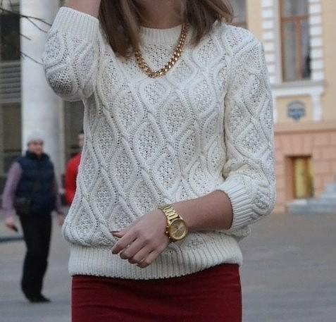 "Белый пуловер узором ""ромб"" - Все своими руками"
